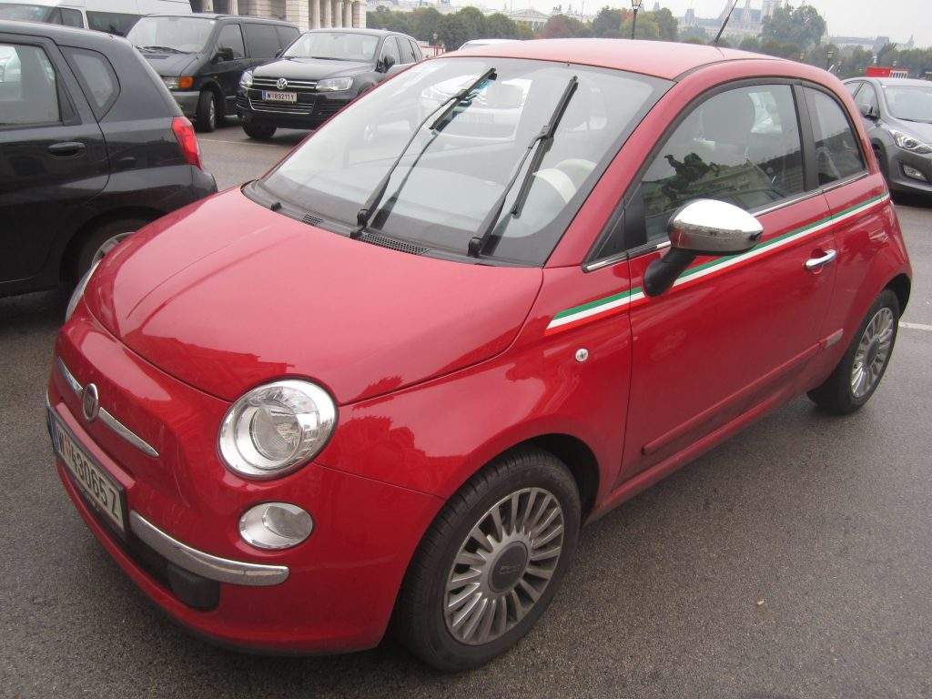 Red Fiat 500 with Italian Flag Stripes