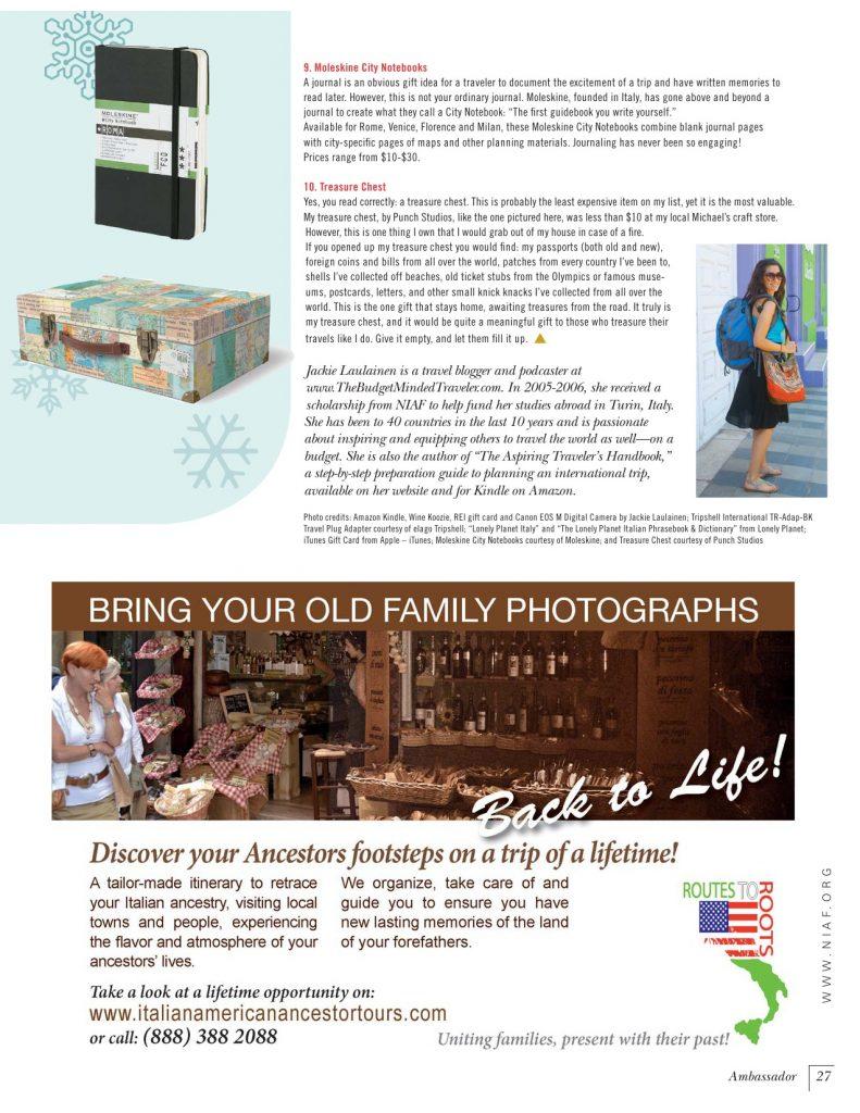 Italy Gift Ideas Article in Ambassador Magazine