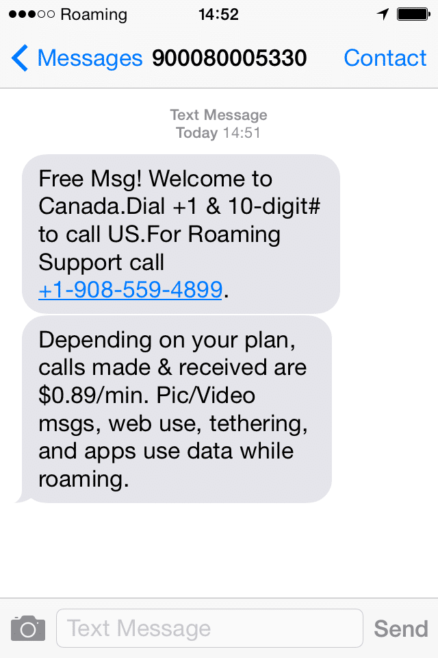 Roaming Charges in Canada