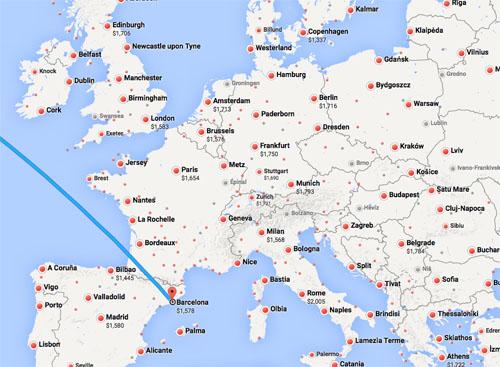 Google Flights to Europe