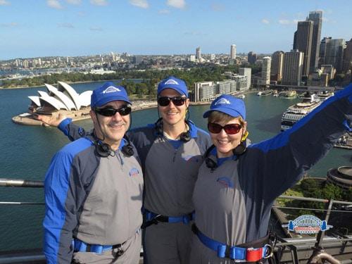 John and parents at Sydney Harbor Bridge