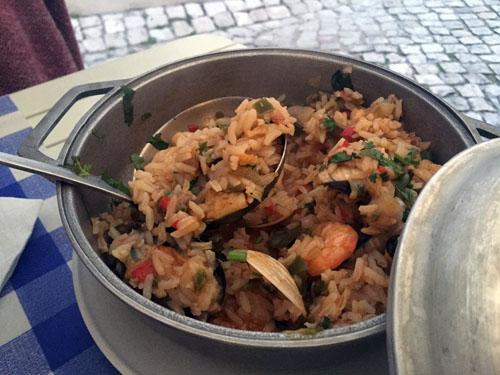 Portuguese seafood paella