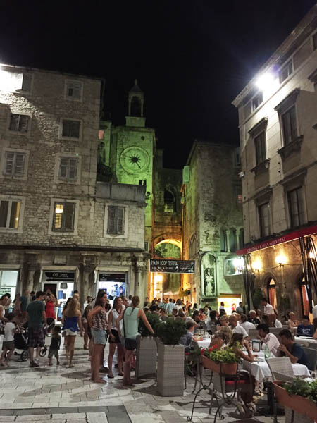 Split Piazza at Night