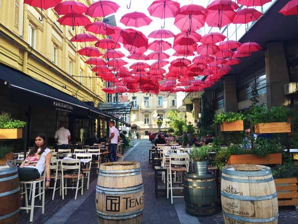 Red umbrella sky