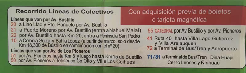 Bariloche bus schedule