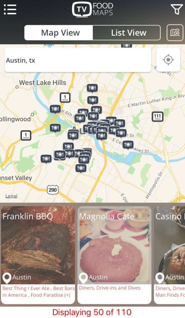 road trip apps tv food maps