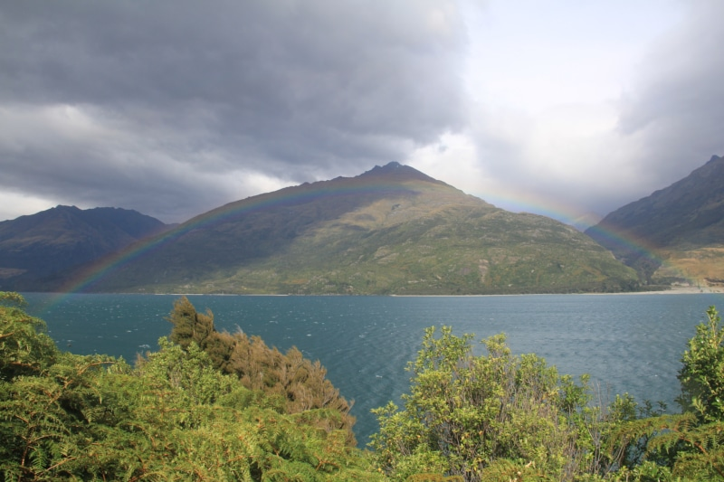Lake Wanaka with rainbow