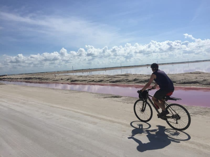 cycling by pink ponds in las Coloradas
