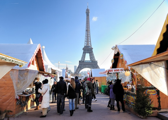 Christmas market next to the Eiffel Tower in Paris