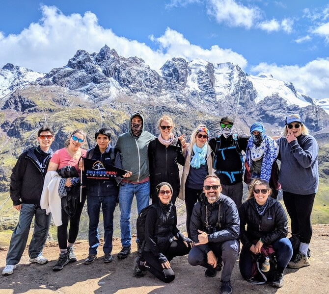 Group travel hiking in Peru