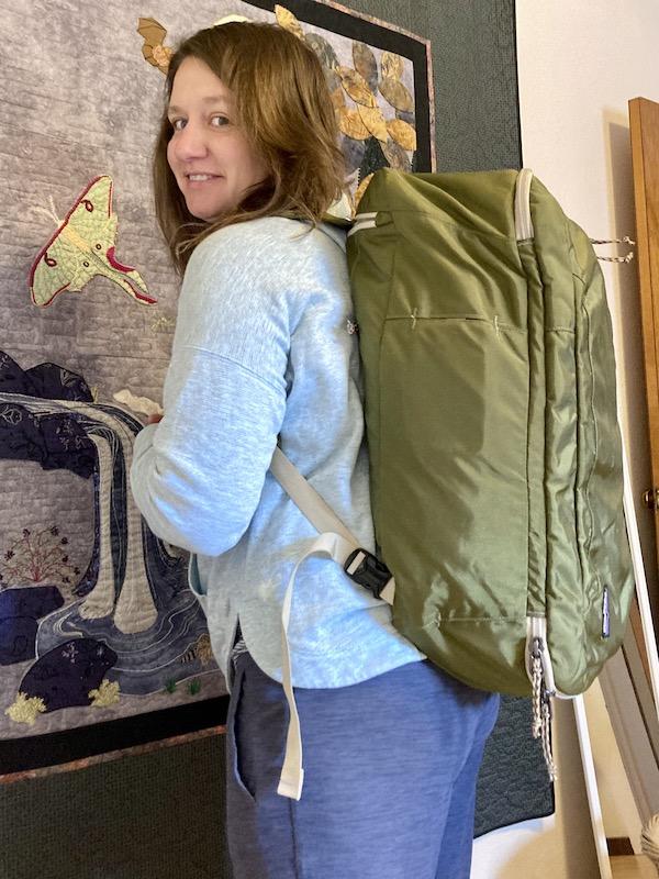 Niki wearing the Patagonia MLC 45L backpack. © Caleb Gribi