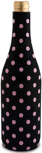 wine koozie in black with pink polka dots